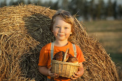 Boy with basket of buns i Royalty Free Stock Photography
