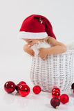 Boy in a basket on christmas time Royalty Free Stock Photos