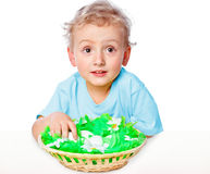 Boy with a basket of eggs Stock Images