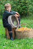 Boy and basket full of chanterelle mushrooms Royalty Free Stock Images