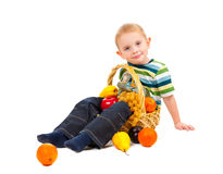 Boy with basket full of fresh fruit Royalty Free Stock Image