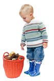 Boy with a basket of mushrooms Stock Photo