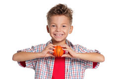 Boy with basketball ball Stock Images