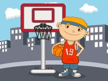 Boy Basketball player with city background cartoon. Full color Stock Image