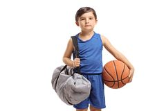 Boy with a basketball and a sports bag. Isolated on white background stock photos
