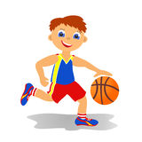 Boy basketballer. Childrens sport in summertime. Boy basketballer Royalty Free Stock Photo
