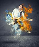 Boy with bass guitar Stock Photo