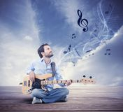 Boy with bass guitar stock photography