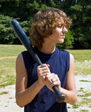 Boy with bat Stock Image