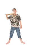 Boy with the bat. Boy with a bat on a white background Royalty Free Stock Photos