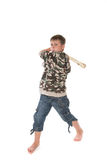 Boy with the bat. Boy with a bat on a white background Stock Image