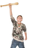 Boy with the bat. Boy with a bat on a white background Stock Images
