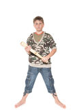 Boy with the bat. Boy with a bat on a white background Royalty Free Stock Photography