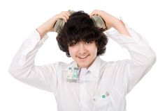 Boy with batch of money on head Royalty Free Stock Photo