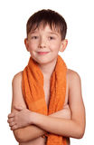 A boy after bath. Isolated on white background Stock Images