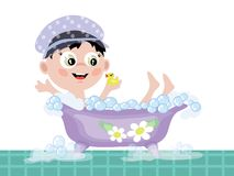 Boy in the bath CMYK Stock Images