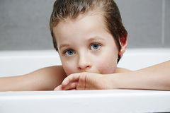 Boy in bath portrait Stock Photo