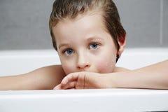 Boy in bath portrait Stock Photo