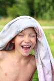 Boy after bathing Stock Photography