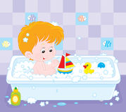 Boy bathing. Little boy playing with toys in a bath with foam royalty free illustration