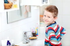 Boy in bathroom Stock Photography