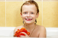 Boy in the bathroom. Royalty Free Stock Photo
