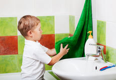 Boy in a bathroom Stock Photography
