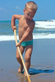 The boy on the beach. Stock Images