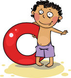 The boy on the beach. Funny Boy holding red inflatable ring Royalty Free Stock Images