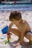 Boy on the beach. Happy boy royalty free stock image