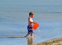 Boy at beach stock image