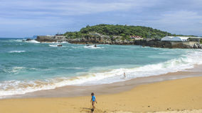 Boy on the beach. Of Cantabria Stock Image