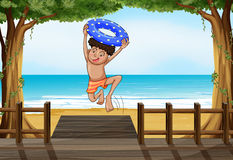 A boy at the beach. Illustration of a boy at the beach Royalty Free Stock Photos