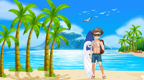 Boy and beach stock illustration