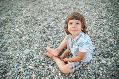 The boy on the beach Royalty Free Stock Images