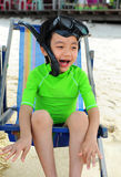 Boy on the beach with snorkeling gear Royalty Free Stock Photography