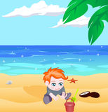 Boy on a beach vector Royalty Free Stock Image