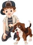 Boy and beagle dog. Illustration Royalty Free Stock Photos