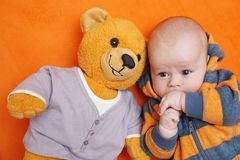The boy and bear Stock Image
