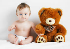 Boy and bear Royalty Free Stock Photo