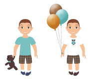 Boy with bear and balloons Royalty Free Stock Image