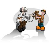 Boy with bear and Dr. (color) Stock Photography