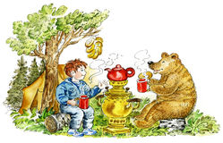 Boy and bear drinking tea. Cute boy and bear drinking tea in forest Royalty Free Stock Images