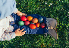 Boy with beautiful Easter Eggs stock image