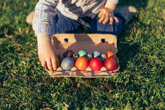 Boy with beautiful Easter Eggs Royalty Free Stock Photography