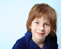 Boy beautiful after shower with face cream Royalty Free Stock Image
