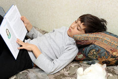 Boy on bed with cat, reading book Royalty Free Stock Image
