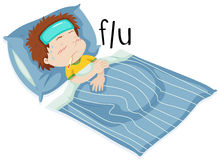 Boy in bed having flue Royalty Free Stock Images
