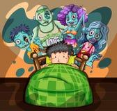 Boy in bed having nightmare stock illustration