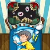 Boy in bed having nightmare Stock Image